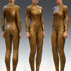 Bodysuit Rubber Catsuit Latex Light Yelow Translucent