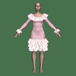 Ruffled Salsa Dress LS - Pink LeafyLace-n-Terri