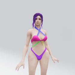 Neon Multicoloured Bikini (More Butt Coverage)