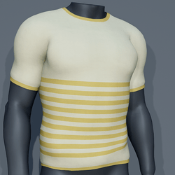 Men - Stripes Tee-Shirt - Yellow Lemon