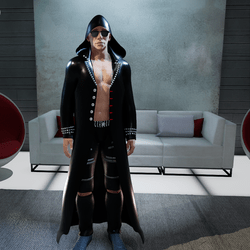 Male Long Black Trench Coat with Hoddie