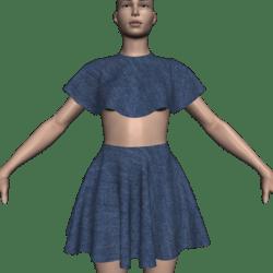 Poncho Caped Top & Skirt Set - Denim