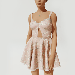 Cate Flare Dress - Pink Floral