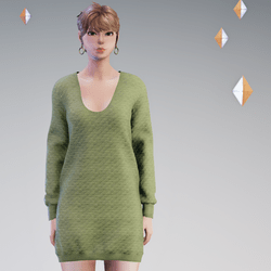 Quilted Sweater Dress Moss - HELLEN
