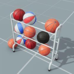 Basketballs and Rack Set