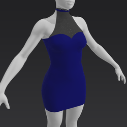 Short Evening Dress - Blue
