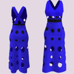 Cutout Dot Long 2.0 Dress (blue)