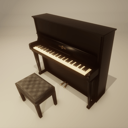 Upright Piano black with bench