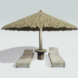 Beach Loungers with Umbrella
