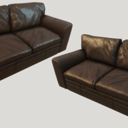 Old Brown Leather Couch - Clean