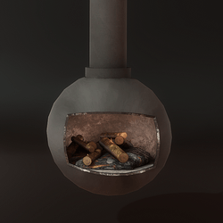 Round Metal Fireplace with Logs