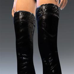 Rubber Latex Stockings Black  V2