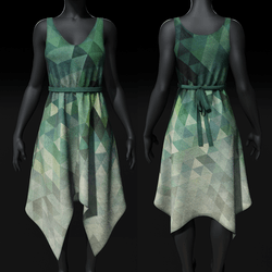 Dress - Shark Bite - Green Geometric Fade