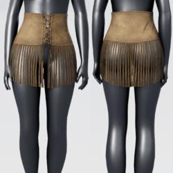 High Waist Fringe Suede  Skirt - Suede
