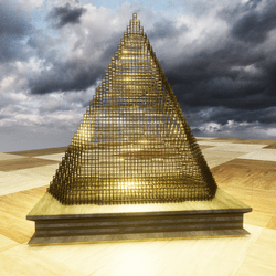 GOLDEN PYRAMID LIGHT SCULPTURE & A SMALL SIZE TABLE STATUE