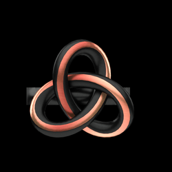 Knot Ring - Black and Copper