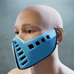 Neon Blue and Black Mask