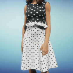 Dress With Black and White Dots