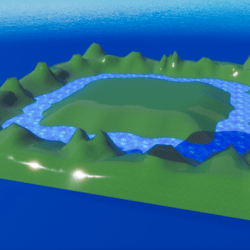 TERRAIN LAND Grass Hills & Water Moat cartoon style with collision by Pixi