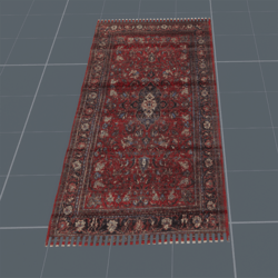 Trampled Red Persian carpet