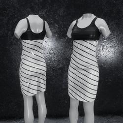 Dress Elly latex stripes gray