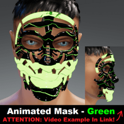Animated Mask: Green - Male Avatars