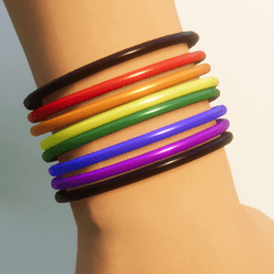 8 Rainbow LGBT Plastic Bracelets - Women