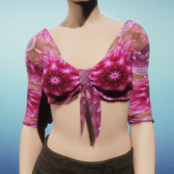 Pink Silk Mandala Tied Crop Top