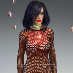 Female - Red Hearts Full-Body Net-Suit