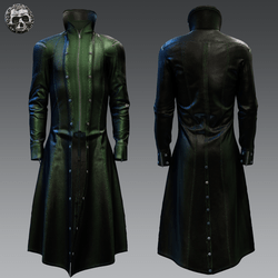 Long Leather Trenchcoat for males