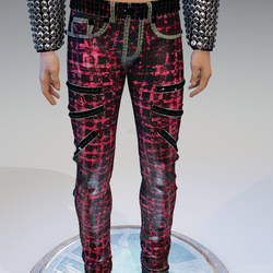 Punk Rock Chaos Red-Bloody Dark-Disruptor Plaid Jeans - Male