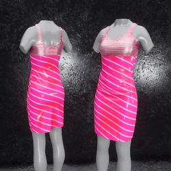 Dress Elly latex stripes rose
