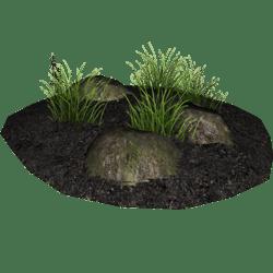 Soil, Grass and Rocks