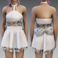 White Cute Partydress with a Lace-Bow and Lace