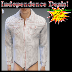 White & Stripes Red Stitch Long Sleeves Shirt - Male