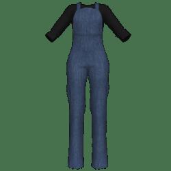Bibbed Denim Overalls w Black Shirt