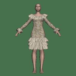 Ruffled Salsa Dress LS - Sequin Flowers