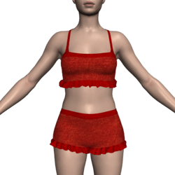 Ruffled Shorts & Tank Top - Red Velvet & Lace