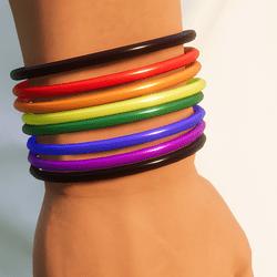 8 Rainbow LGBT Plastic Bracelets - Men