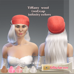 tiffany -wool (red)cap -white base hair  infinity collors