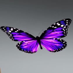Glowing Animated butterfly pet purple [Glasses Slot]