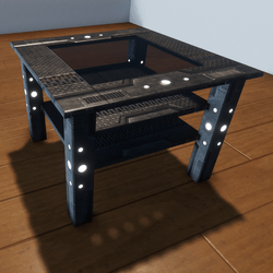METAL GLASS TABLE -INDUSTRIAL LED LIGHTS