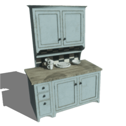 Rustic Kitchen Cabinet with Dishes