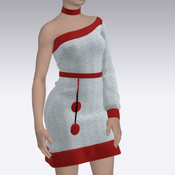 Design Dress Silver and Red