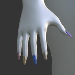 Iridescent Metal [Style 01] False Fake Nails Long