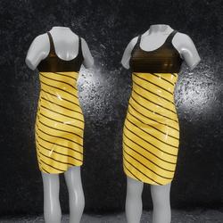 Dress Elly latex stripes yellow