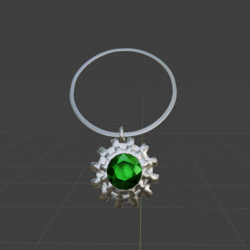Steampunk Gear and Emerald  Necklace