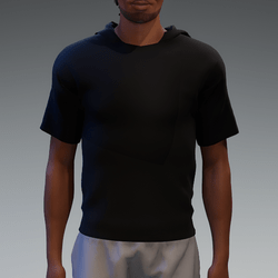 Black Basic Hooded T-Shirt for Men