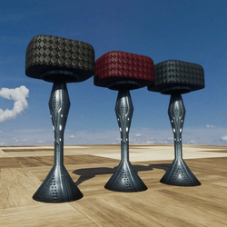 3 COLORS- INDUSTRIAL  BAR STOOLS (leather&metalic)