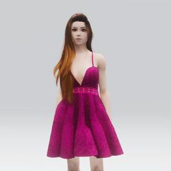 Kawaii Dark Pink Laced Mini Summer Dress
